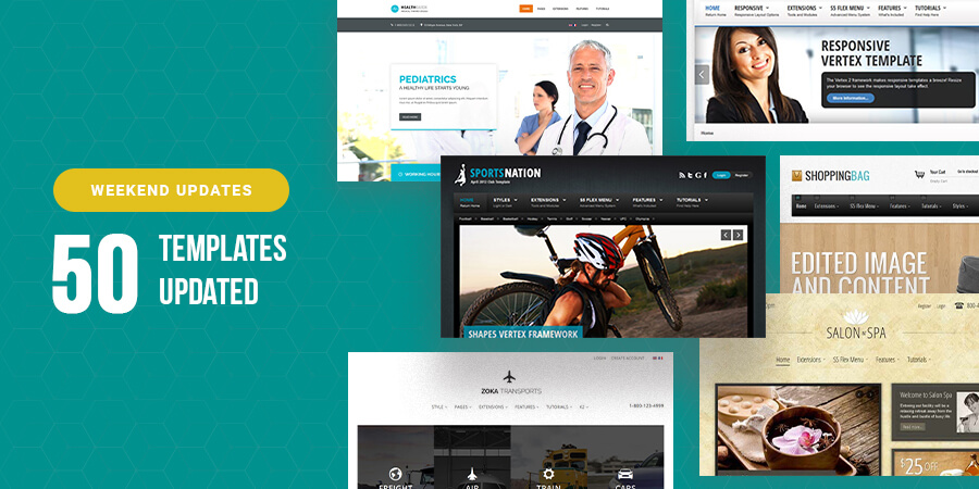 50 Joomla templates updated for Joomla 3.9.13