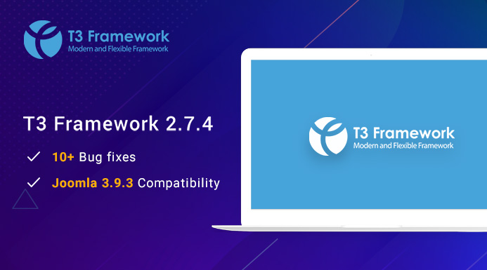 T3 Responsive Joomla framework 2.7.4 updated for Joomla 3.9.3