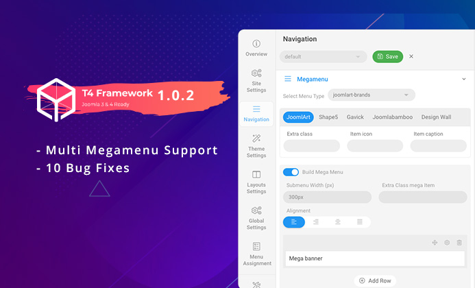 T4 Framework 1.0.2:  supports multiple Mega menus and bug fixes