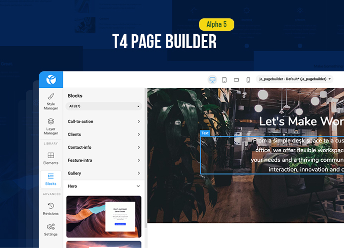 Create your own T4 Page Builder site and try it for free