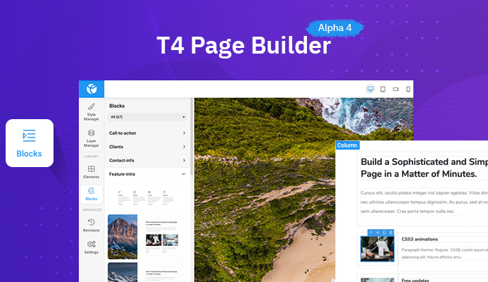 T4 Joomla Page Builder Alpha 4 released. 10,000 installations so far