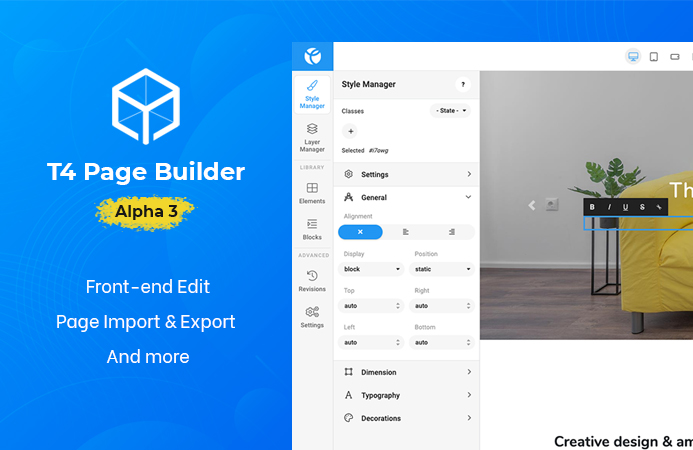 T4 Joomla page builder alpha 3: front-end edit support, pages import & export and more