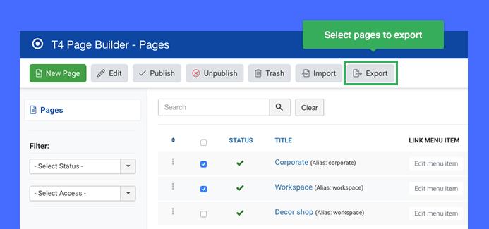 Joomla page builder page export