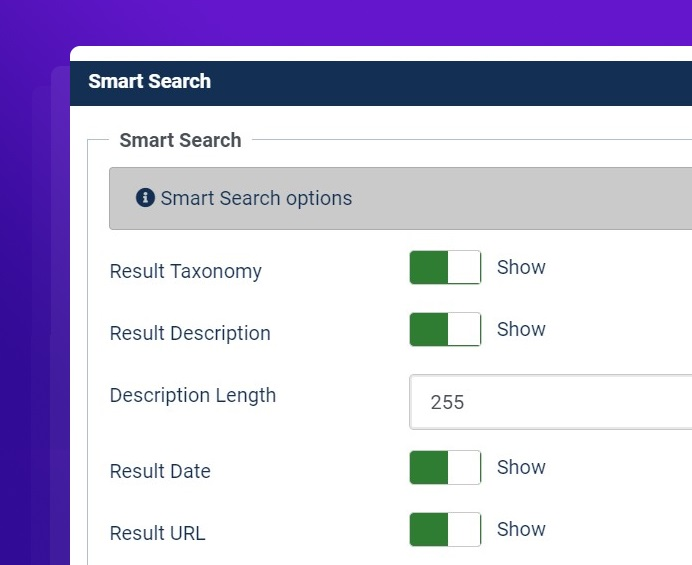 joomla 4 smart search advance options