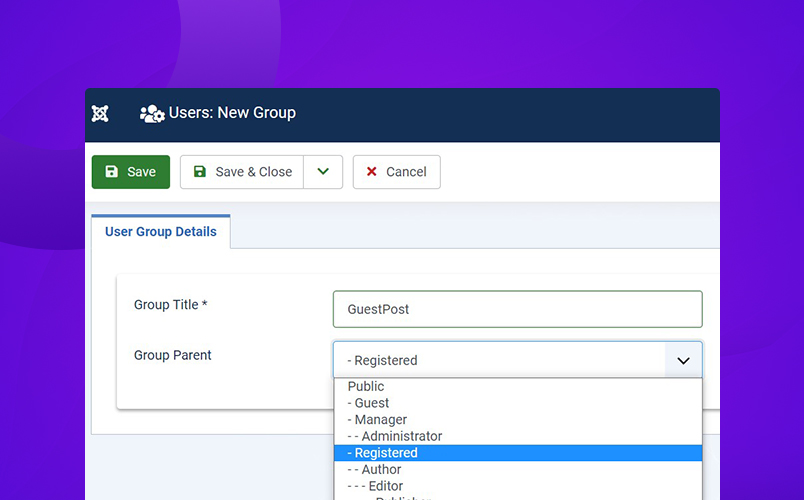 add new usergroup in Joomla