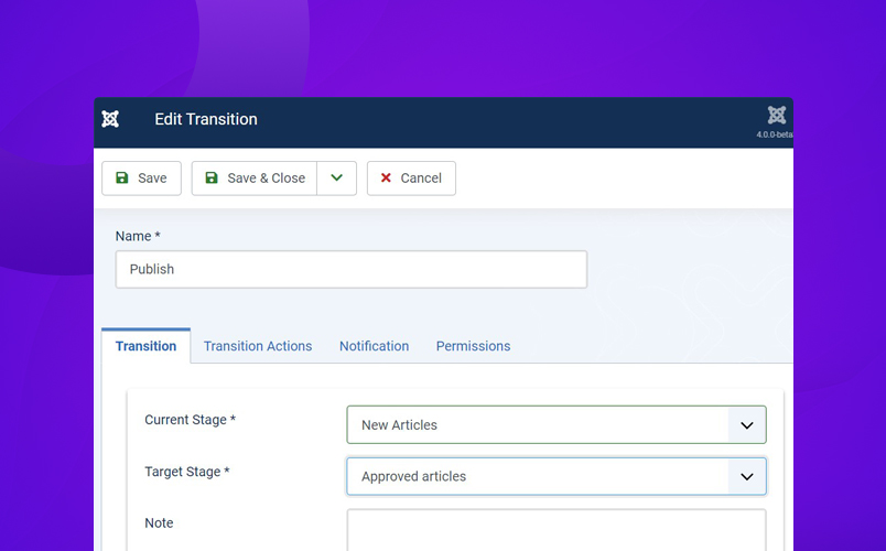 add new transition in Joomla workflow