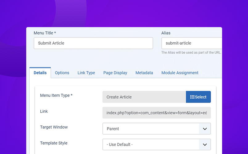 Joomla submit article menu