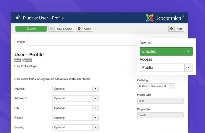 enable joomla user profile