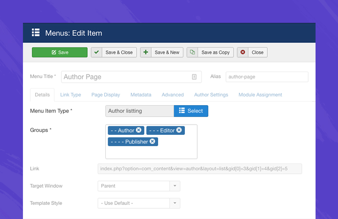 Joomla author page settings
