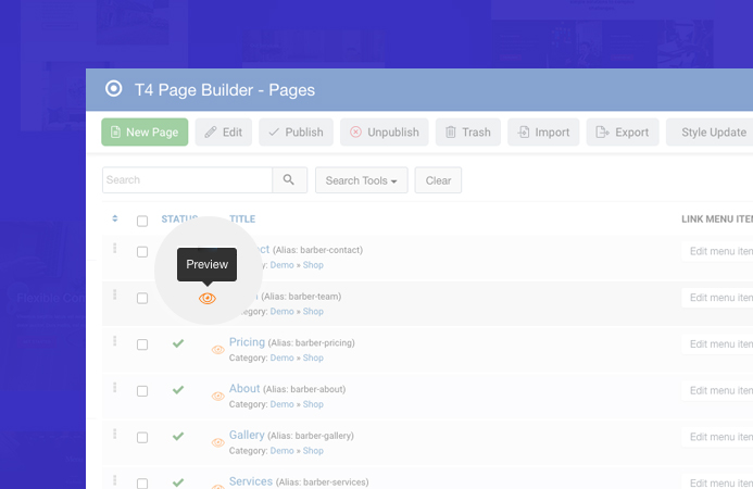 joomla page builder pages preview