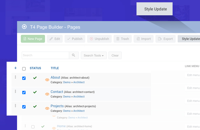 joomla page builder pages import