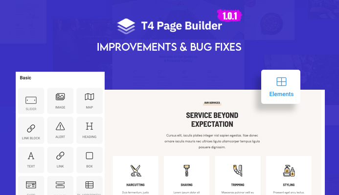 T4 Joomla Page Builder 1.0.1 updated with multiple improvements & bug fixes