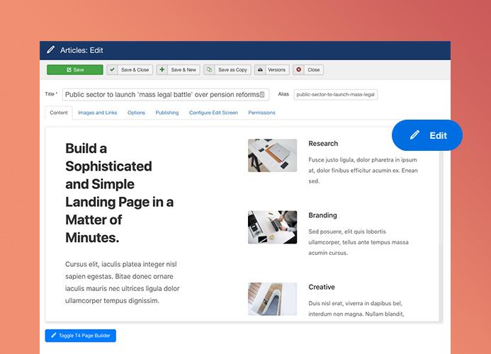 joomla page builder for Joomla article