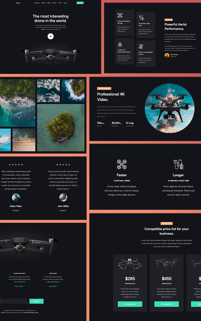 joomla page builder single product intro template