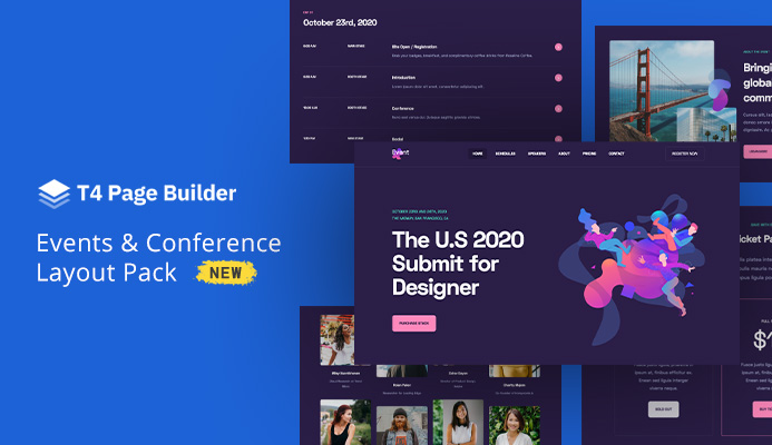 T4 Page Builder: Introducing Events & Conference Layout Pack, Custom Font feature and more