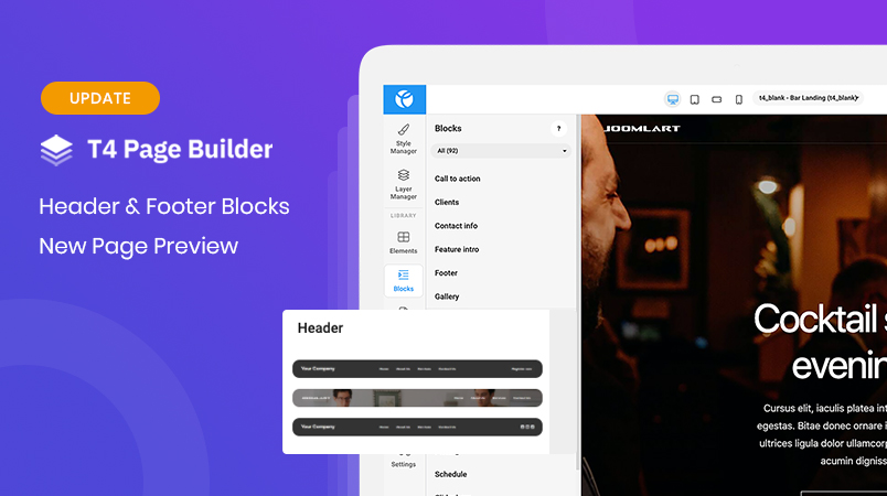 [Update] T4 Page Builder: header & footer blocks support and new page preview