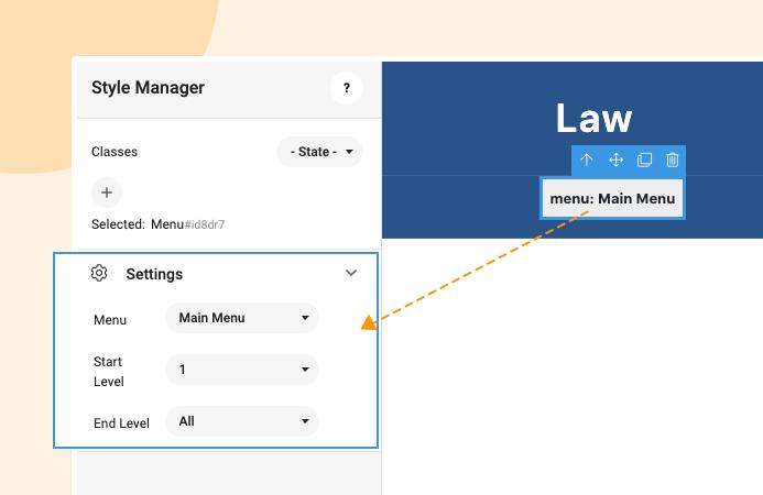 joomla page builder menu settings