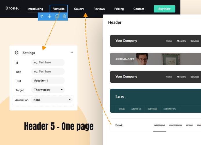 joomla page builder one page menu