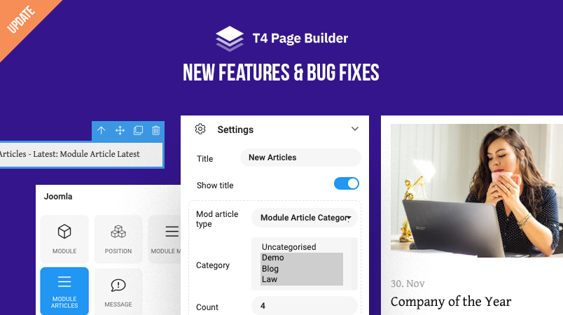 [Update] T4 Page Builder supports Joomla articles modules, 6 new content blocks and more