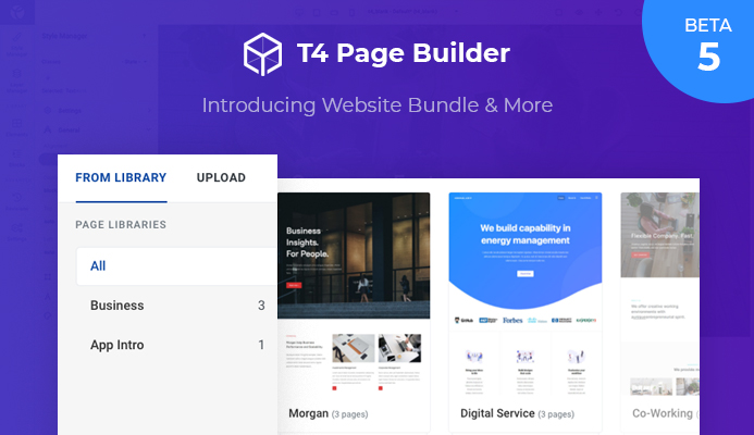 T4 Page Builder Beta 5: Introducing Website Bundle and more