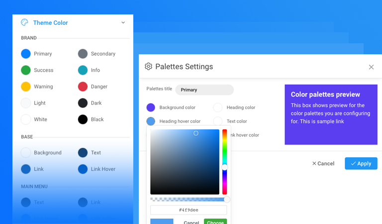 T4 Framework: new theme colour settings and theme colour CSS variables