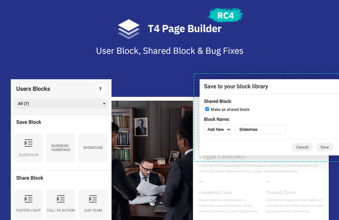 T4 Page Builder RC4: User's block library, shared blocks and more