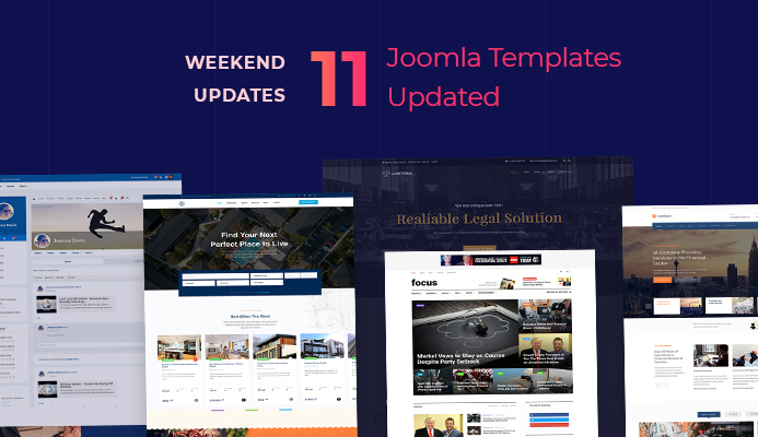 Weekend Updates: 11 Joomla templates updated for Joomla 3.9.18 and bug fixes