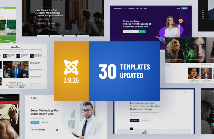 Weekend Updates: 30 Joomla templates updated for Joomla 3.9.25