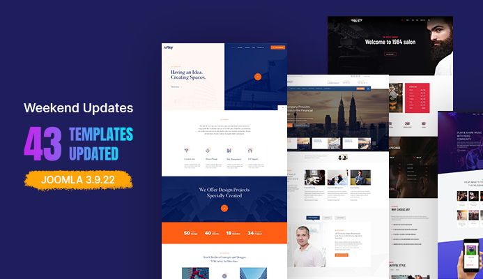 Weekend Updates: 43 Joomla templates updated for Joomla 3.9.22