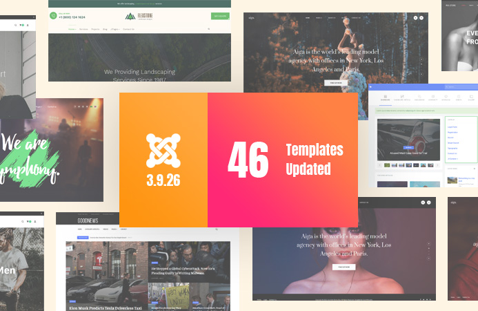 [Update] 46 templates updated for Joomla 3.9.26, 3rd party extensions and bug fixes