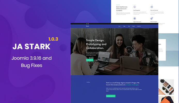 Free Joomla template - JA Stark and T3 Joomla template framework updated and more