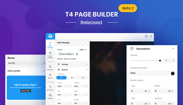 T4 Joomla Page Builder Beta 2 : 12 new website content blocks and improvements and bug fixes
