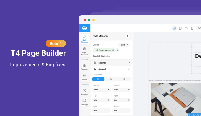 T4 Page Builder beta 4: core upgrade and bug fixes