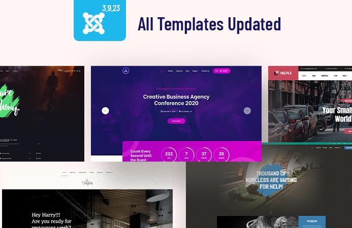 67 more Joomla templates updated for Joomla 3.9.23