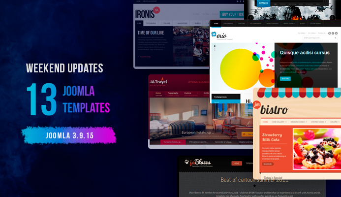 Weekend Updates: 13 Joomla templates updated for Joomla 3.9.15