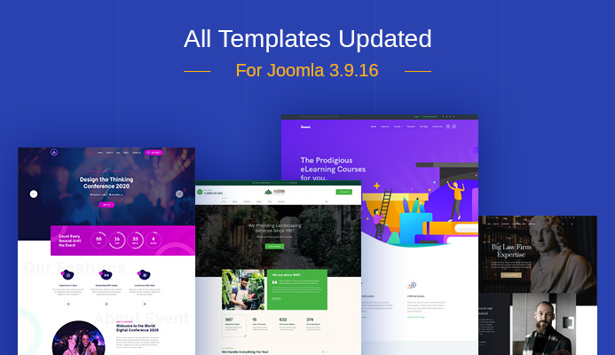 Weekend Updates: 88 Joomla templates updated for Joomla 3.9.16