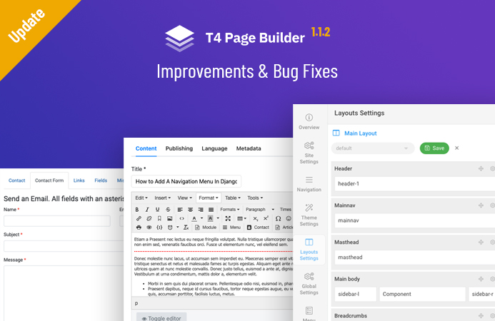 T4 Framework 1.1.2: Joomla default pages improvement and bug fixes