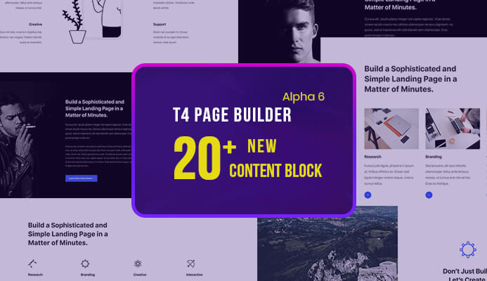 T4 Joomla Page Builder Alpha 6: 20+ new website content blocks and more