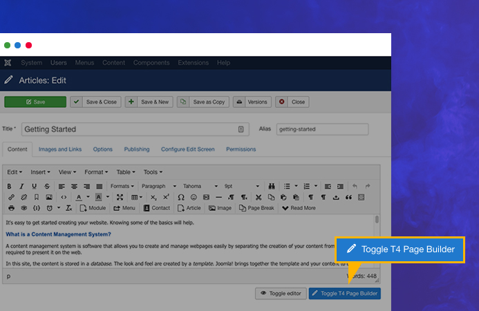 Enable T4 Page Builder for Joomla article