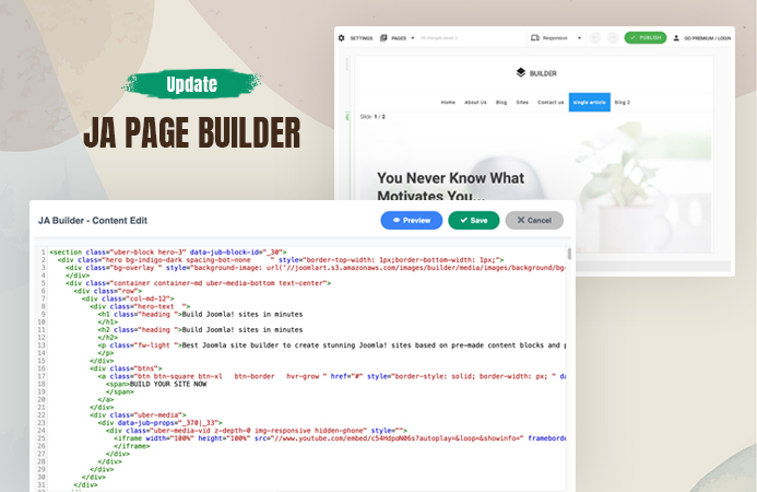 JA Page Builder updated with HTML editor