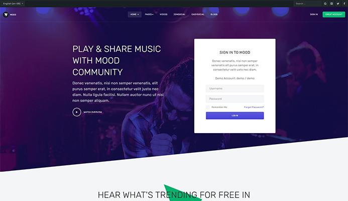 ja mood Community and Social Joomla Template
