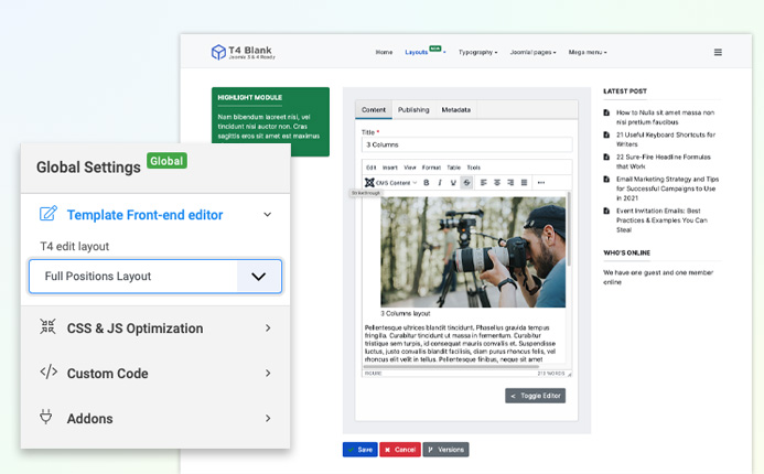 t4 joomla framework edit layout