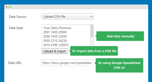 Support 3 ways to import data