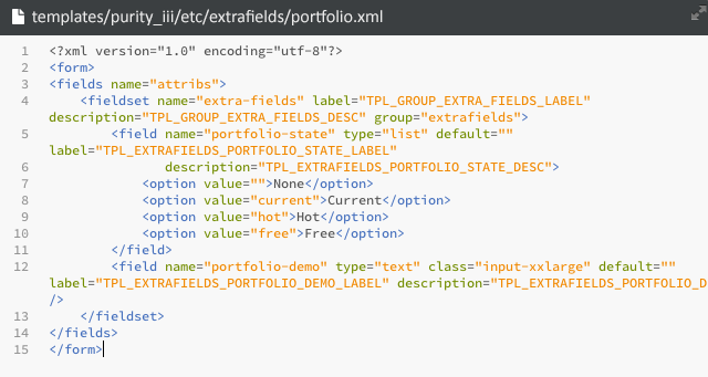 The code in portfolio.xml file