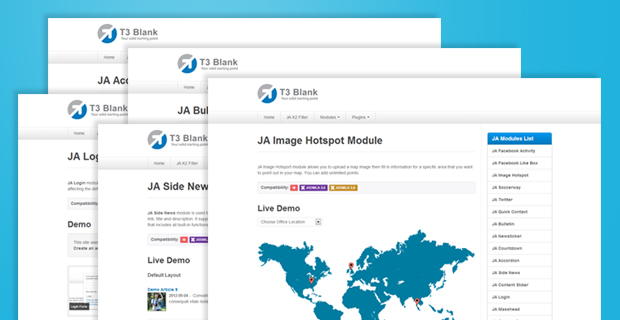 All new Joomla Extensions Demo site: Joomla 2.5 & Joomla 3