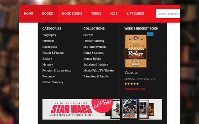 Mega Menu in Magento theme JM Bookshop