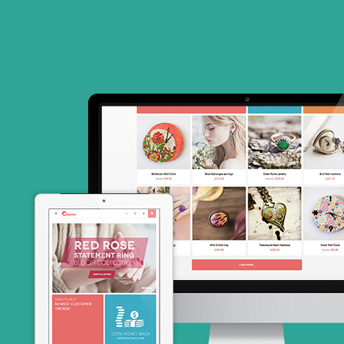 Responsive Magento theme JM Crafts a dreamy yet practical handmade store