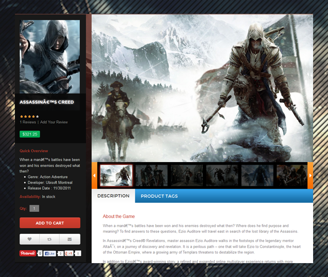 Product page in JM Gamestore