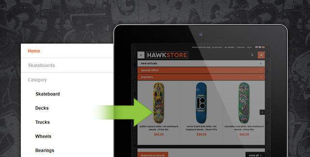 Off-canvas Navigation on Magento theme JM Hawkstore