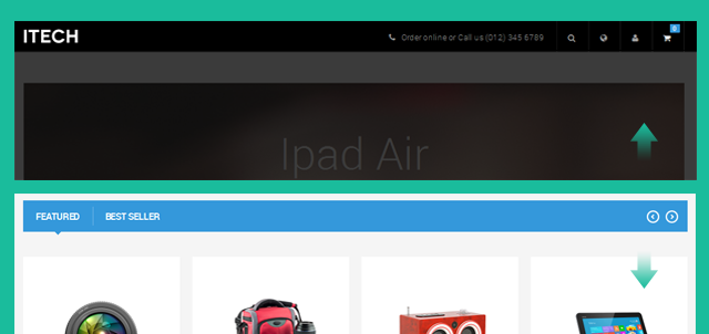 Auto-hide menu bar in Responsive Magento theme JM iTech